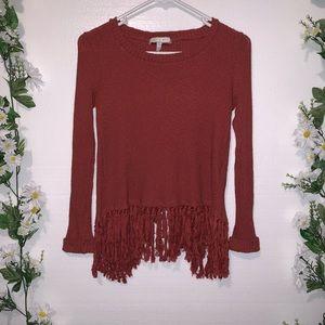 ANTHROPOLOGIE: Eri +Ali open back fringe sweater